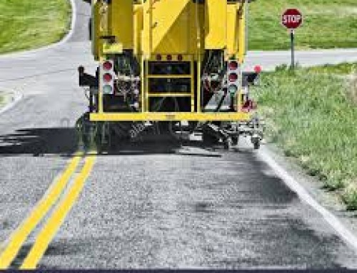Town of Brookhaven line striping in the Village this weekend