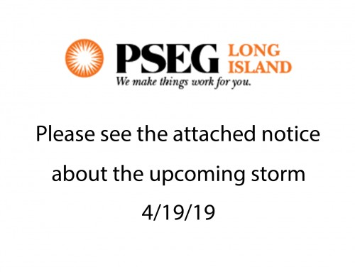 PSEG notice about the upcoming storm